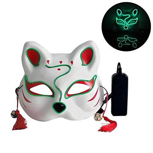 Maske Gesicht Katze leuchtende Maske Halloween Männer und Frauen Persönlichkeit Karneval Nacht Tanz Anime Hip-Hop-Maske