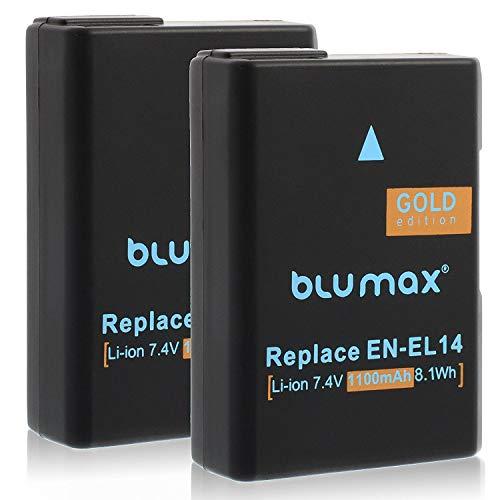 Blumax 2X Gold Edition Akku für Nikon EN-EL14/EN-EL14a 1100mAh Ersatzakku für Nikon Nikon D3100 D3200 D3300 D3400 D5100 D5200 D5300 D5500 D5600 - Nikon Coolpix P7100 P7000 P7800