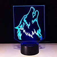 Wuqingren The Wolf 3D Small Night Light Baby 7 Color Chang Bluetooth Speakers lights LED USB Desk lamp bedroom Reading lamp For Kid