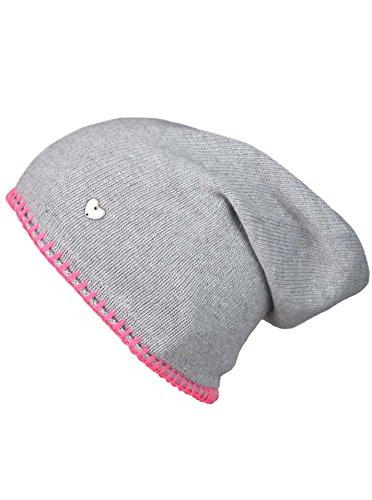 Slouch-Beanie-Mütze mit Kaschmir - Hochwertige Strickmütze für Damen Mädchen - Herz - Heckel-Rand - One Size - warm und weich im Sommer...