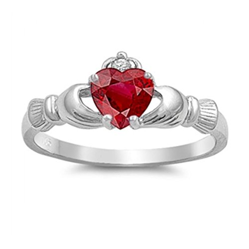 Sterlingsilber Claddagh Ring - Rubin Zirkonia (Gold Claddagh-ring Mit Opal)