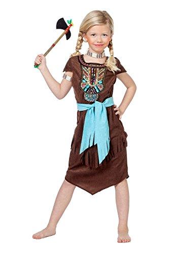 Jannes - Kinder Indianer Kostüm Braun Mädchen 128