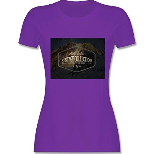 Wintersport - Retro Design Berge - tailliertes Premium T-Shirt mit Rundhalsausschnitt für Damen Lila