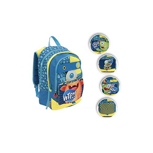 Gopop zaino scuola elementare 3zip azzurro 35x44x12cm gg903000