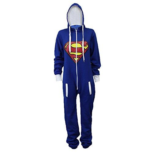 Damen Superman Jumpsuit mit Kapuze in der Farbe Königsblau - 2