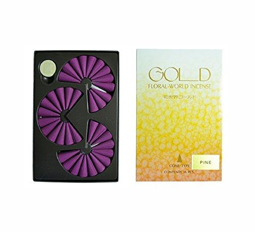 Shoyeido's - Incienso de pino de oro, diseño floral, juego de 36 conos