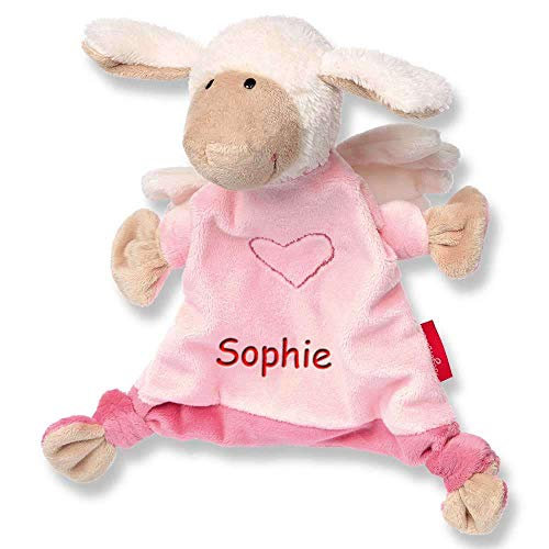 Sigikid Schmusetuch Schutzengel rosa mit Namen bestickt Baby Geschenk zur Geburt Schnuffeltuch