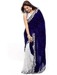 Sweez Fashion Velvet Saree (Saree_01_Freesize_Sea Blue Velvet_Blue)