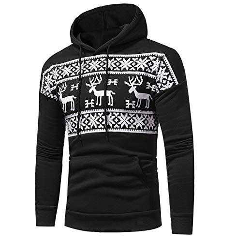 Tomatoa Hoodie Herren Kostüm Kapuzenpullover Neuheit Rentier Weihnachten Deko Ugly Christmas Sweater Jumper Festliche Streetwear Weihnachtspulli (Für Erwachsene Rentier Kostüm Hoodie)