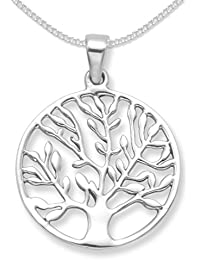 Sterling Silver Tree of Life Yggdrasil Pendant on Silver chain - SIZE: 25mm. Tree of Life necklace 8097. Please choose chain length below.