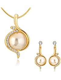 Spargz Gold Plated AD Stone With Pearl New Round Wedding Pendant Necklaces & Dangle Earrings For Women ALPS_5009