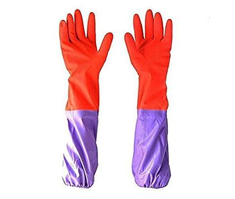 Long Sleeve Gloves Antiskid Household Housework Kitchen Laundry Dishwashing Cleaning Long Waterproof Gloves Warm