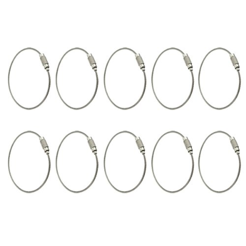 akord-wire-keychain-cable-with-keyring-twist-barrel-stainless-steel-silver-pack-of-10