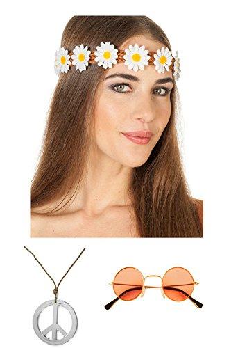 Hippie Kostüm Mädels Zubehör Set Accessoires (Blumenmädchen Kostüm Hippie)