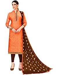 2ed0c8d7fa Kimisha Orange Banarasi Silk Woven Salwar Suit Material With Fancy Border &  Weaving Dupatta