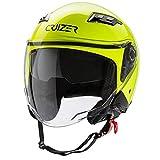 CRUIZER - Casco per moto Jet omologato di colore giallo con doppia visiera, interni lavabili e anallergici, chiusura con cinturino omologata (M)