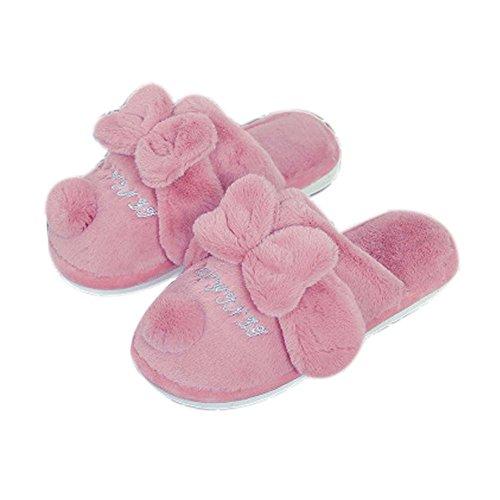 Rose felpa del Arco-nudo de zapatillas de casa zapatillas calientes de interior suaves de las mujeres de color rojo