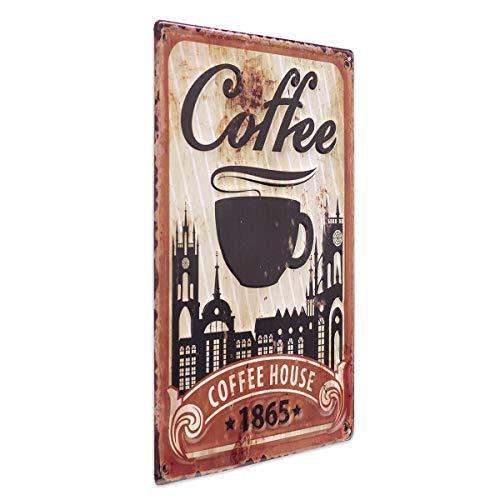 PHOTOLINI Blechschild Coffee House 30x40 cm Vintage Küchenschild Metallschild Kaffee-Bild