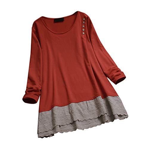 MRULIC Damen Fledermaus Hemd Lässig Locker Top Dünnschnitt Bluse Frühling Neu T-Shirt Leinenbluse Freundin(B-Orange,EU-48/CN-4XL)