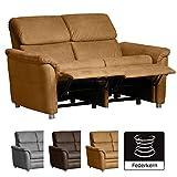 Cavadore 2-Sitzer Sofa Chalsay inkl. Relaxfunktion / mit Federkern / moderne 2er Couch / Größe: 145 x 94 x 92 cm (BxHxT) / Farbe: Hellbraun (mustard)