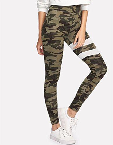 Camouflage Mesdames élastiques collants crayon pieds pantalons pantalons de yoga sport pantalons décontractés (L) Camouflage B