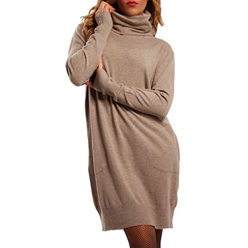 Damen Oversize Strickkleid Long Pullover mit Rollkragen , Farbe:Beige;Größe:One Size