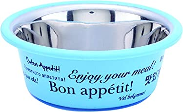 Elton Bon Appetit Cutie Bowls (Blue) Dog Bowls Export Quality Inside Stainless Steel Dog Food Bowl Feeder Bowls Pet Bowl for Feeding Dogs Cats and Pets (Large 1.80 L)