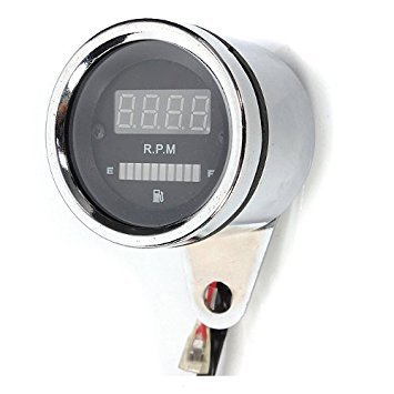 Tachometer - TOOGOO(R) Universell Motorrad Streetfighter LED Digital Tachometer RPM oel-Kraftstoffanzeige 12V -