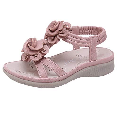 Dorical Sandalen für Mädchen,Böhmischen Slippers Mode Flache Casual Sandalen Strand Sommer Prinzessin schöne Flache Schuhe für Lässig, Mode, Party, Tanz(Rosa-2,7-7.5Jahre)