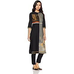 W for Woman Women's Straight Kurta (17AU16860-50034_Gunmental_14)