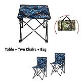 Klappstühle Portable Folding Camping, Receive, Portable, Outdoor Klapptisch und Stuhl Set, 2 Stühle, Tisch, Angeln, Bergsteigen
