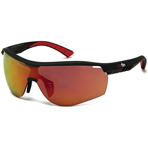 Zero rh+ occhiali legend matt black/red, lenti hd mirror red + lenti clear