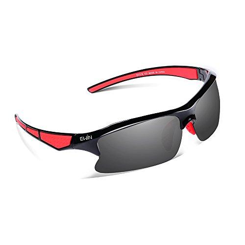 Ewin E20 Gafas de Sol de Deporte Polarizadas, UV400 Protección, Gafas Irrompibles (Negra y Rojo)