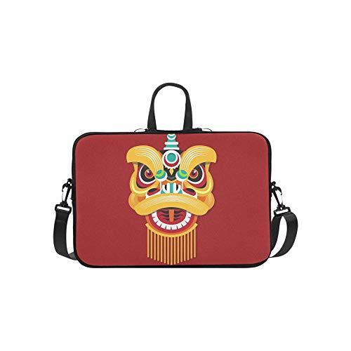 Chinesischer Löwenkopf Tanz Muster Aktentasche Laptoptasche Messenger Schulter Arbeitstasche Crossbody Handtasche Für Geschäftsreisen