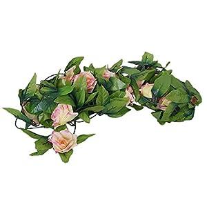ULTNICE 2 Piezas Guirnalda Rosa en Seda Planta Flor Artificial Decoración para Boda Fiesta