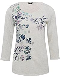 M&Co Ladies Three Quarter Length Sleeve Scoop Neck Floral Embroidered Top