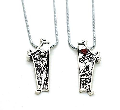 Natale Jack e Sally Coppia Collana Set con Jewelry Box Rosa Fiori di cuore, collana delle coppie per Lui e per Lei