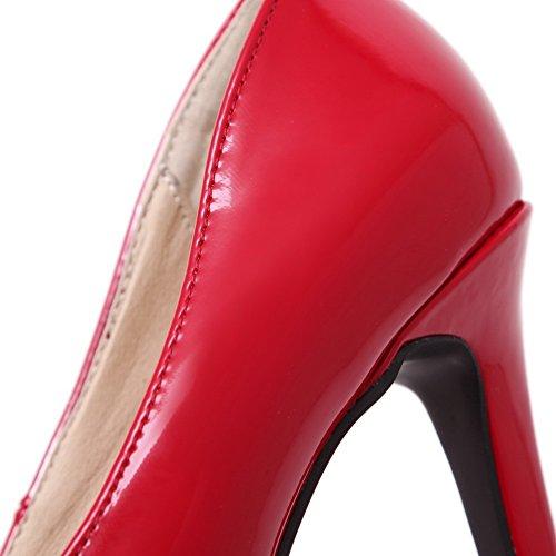 VogueZone009 Donna Pelle Di Maiale Punta Chiusa Scarpe A Punta Tacco A Spillo Tirare Puro Ballerine Rosso