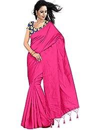 Stylish Sarees Fancy Desiner Plain Saree With Fancy Blouse Piece