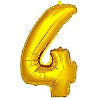 DekoRex® número globo decoración cumpleaños brillante para aire en oro 40cm de alto No. 4