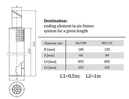 Tube extérieur à double paroi cheminée évacuation de fumée doublure SPIROFLEX 0,5m 60 / 100mm