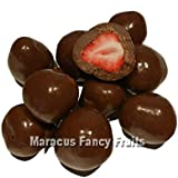 Schoko Erdbeeren, gefriergetrocknete Erdbeeren in zarter Vollmilchschokolade, intensiv aromatischer knabber Snack aus der Natur, leckere Erdbeere in knackiger Schokolade, Schoko Früchte Einzelpack/250g