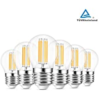 Lampadina a filamento a LED G45 E27, ANWIO Lampadina a globo vintage mini golfo, 470Lm 4W Equivalenti a 40 W, non dimmerabile, bianco caldo 2700K, 6 pezzi