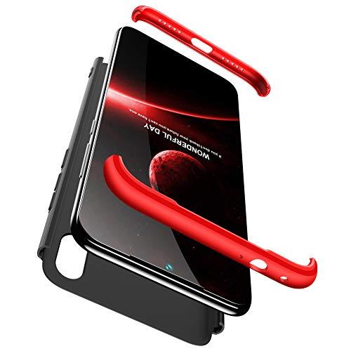 BESTCASESKIN Hülle Kompatibel mit Xiaomi Redmi Note 7 Handyhülle,Superleichte Ultradünne 3 in 1 PC Schutzhülle Stoßfeste Kratzfeste 360 Grad R&umschutz + Gratis Panzerglas Schutzfolie Rot Schwarz