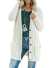 Cárdigan Mujer Manga Larga Chaqueta Punto Suelta Jersey Frente Abierto Botones Cardigan Abrigos