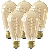 Calex - Bombilla LED con filamento Edison Curl dorado E27 4 W (5 unidades)