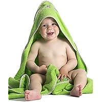 Zollner Toalla de bebé con capucha, en verde, azul, rosa y beige, algodón 100%, muy grande, 100x100 cm, serie Capo