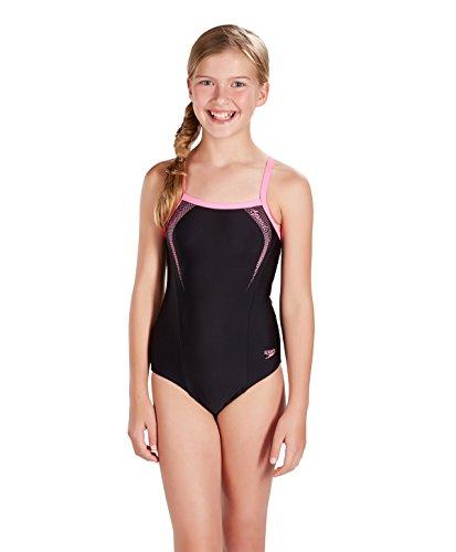 Speedo Mädchen Badeanzug Solid Rippleback with Printed Straps, Schwarz (Black/Princess Pink), Gr. 128 cm (Herstellergröße:26/8 Jahre)