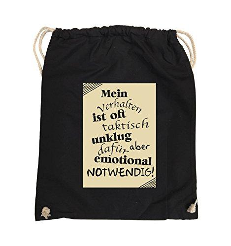 Comedy Bags - Mein Verhalten ist oft taktisch unklug - ZETTEL - Turnbeutel - 37x46cm - Farbe: Schwarz / Pink Schwarz / Beige