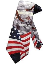 Cravate pour homme Steven Harris Men aigle américains sur un drapeau américain - gris - taille unique